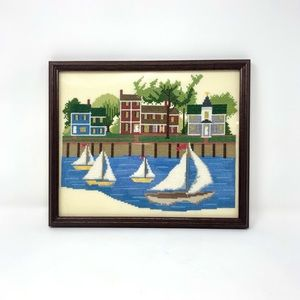 Vintage Framed Sailboat Cross Stitch Wall Art